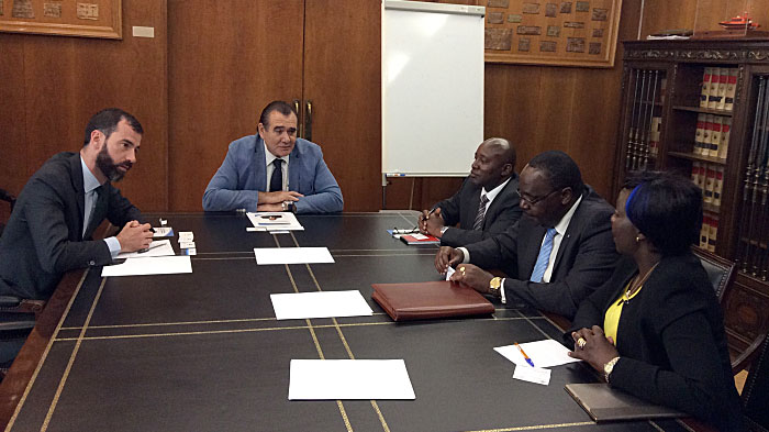 Deliberations during the meeting at the Min. of Public Works Spain. From left, Mr. Benito Núñez, Chief of Staff at the General Directorate for Merchant Marine, Mr. Rafael Rodríguez, the Director General, Mr. Patrick Nzusi, Chargé d'Affaires, Kenya Embassy Madrid, Mr. Mr. Juvenal J.M. Shiundu, Government of Kenya's candidate to the post of Secretary General of International Maritime Organization (IMO), Ms. Jayne Toroitich, First Counsellor, Kenya High Commision, London.